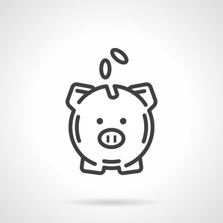 A piggy bank with coins a front view. Conceptual symbol of saving money. Banking, deposit, financial sign. Vector icon simple black line style. Single design element for website, business.
