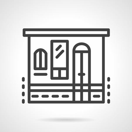 storefront: Store facade wall with windows and door. Storefront and showcases. Grocery button. Retail building objects. Vector icon simple black line style. Single design element for website, business. Illustration
