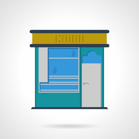 storefronts: Blue color stall. Newsstand. Storefronts and showcases. Urban local architecture. Vector icon flat color style. Web design element for site, mobile and business. Illustration