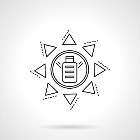 energy savings: Solar power battery symbol. Alternative energy. Savings energy. Conceptual eco-friendly sign. Vector icon flat thin line style. Element for web design, business, mobile app. Illustration