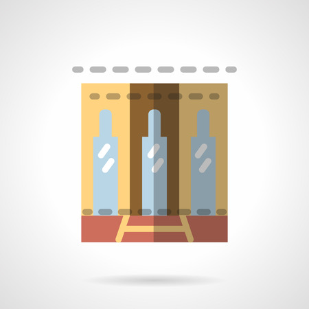 storefronts: Business center building facade. Glass door and two stylish side windows. Showcases and storefronts. Vector icon flat color style. Web design element for site, mobile and business.