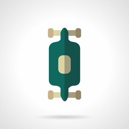 active lifestyle: Green longboard. City active lifestyle. Extreme sport. Vector icon flat color style. Web design element for site, mobile and business.