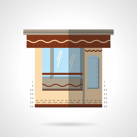 storefronts: Stall or kiosk. Trading and market place. Storefronts and showcases. Vector icon flat color style. Web design element for site, mobile and business. Illustration