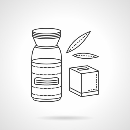 yoghurt: Organic food concept. Natural nutrition and drinks for baby. Juice and tea, yogurt. Vector icon flat thin line style. Element for web design, business, mobile app.