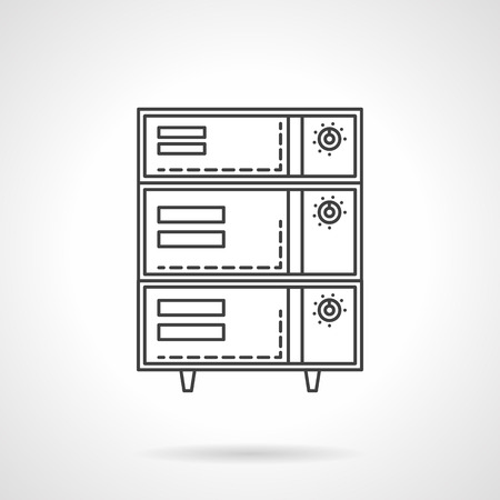 bakery oven: Bakery equipment and appliances. Oven and stoves. Food processing. Vector icon flat thin line style. Element for web design, business, mobile app. Illustration