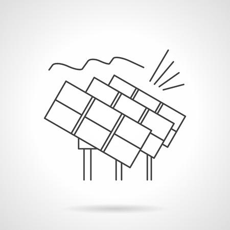 solar power station: Solar panels row. Solar power station. Alternative energy. Eco-friendly technology. Vector icon flat thin line style. Element for web design, business, mobile app.