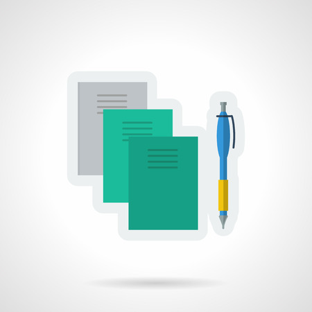 business education: Three blank notebooks in gray and green colors and blue pen. Stationery and school supplies. Vector icon flat color style. Web design element for site, mobile and business. Illustration