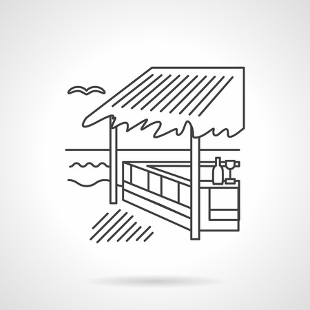 coastline: Exotic architecture. Coastline cafe and bungalows. Summer resort. Vector icon flat thin line style. Element for web design, business, mobile app. Illustration