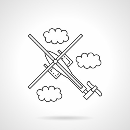unmanned: Aerial vehicles. A top view of a helicopter with clouds. Military vehicles and unmanned robots. Vector icon flat thin line style. Element for web design, business, mobile app.