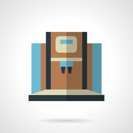 office appliances: Blue and brown coffee machine with two brewers. Modern appliances for cafe, office or home. Vector icon flat color style. Web design element for site, mobile and business.