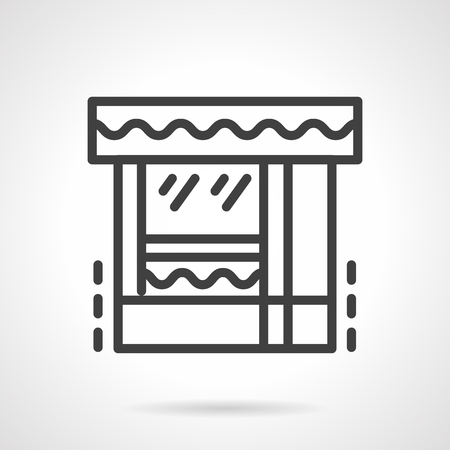 exterior element: Exterior of shop. Butcher shop. Storefronts and showcases. Vector icon simple black line style. Single design element for website, business.