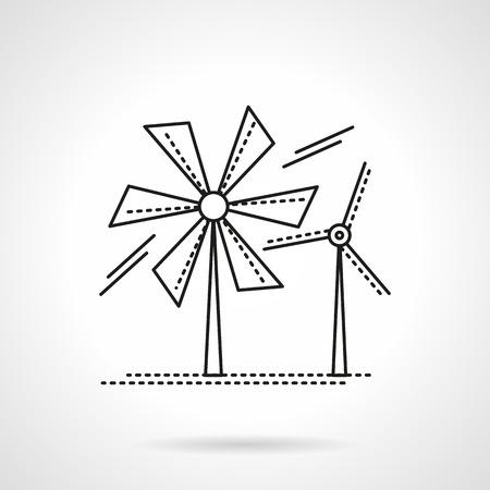 wind farm: Alternative energy theme. Wind turbines. Wind farm. Saving energy concept. Vector icon flat thin line style. Element for web design, business, mobile app. Illustration