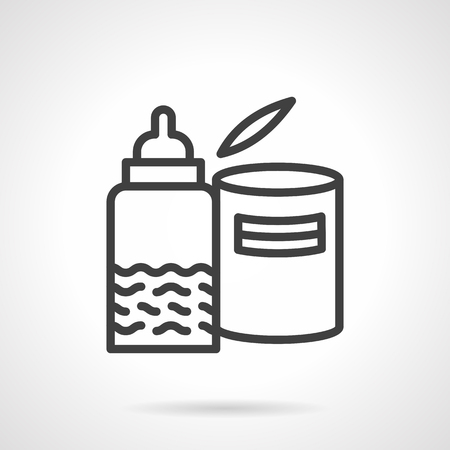 Baby food theme. Nipple bottle with milk or jjuice and can with milk formula. Healthy nutrition. Vector icon simple black line style. Single design element for website, business. Ilustração
