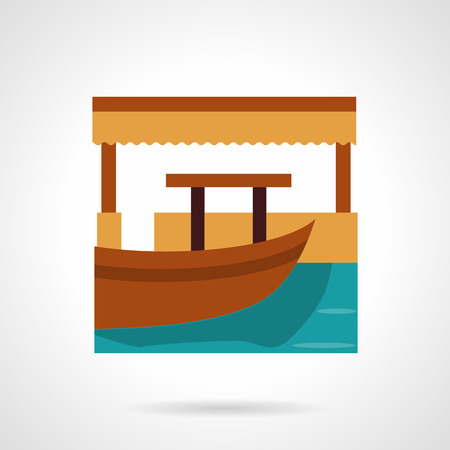 wave tourist: Wooden boat near a jetty. Tropical resort. Fishing. River market. Vector icon flat color style. Web design element for site, mobile and business. Illustration