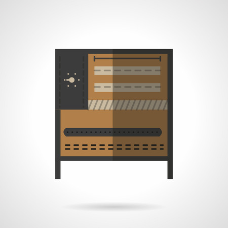 bakery oven: Kitchen equipment and appliances. Brown bakery oven with regulator a front view. Vector icon flat color style. Web design element for site, mobile and business.