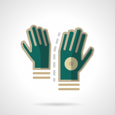 store keeper: Sports green gloves pair. Accessories and protection for sportsmen. Vector icon flat color style. Web design element for site, mobile and business. Illustration