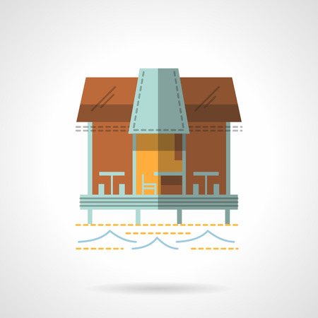 coastline: Wooden pier or jetty with cafe-bar. Tropical resort. Coastline architecture. Cafe and bungalows. Vector icon flat color style. Web design element for site, mobile and business.