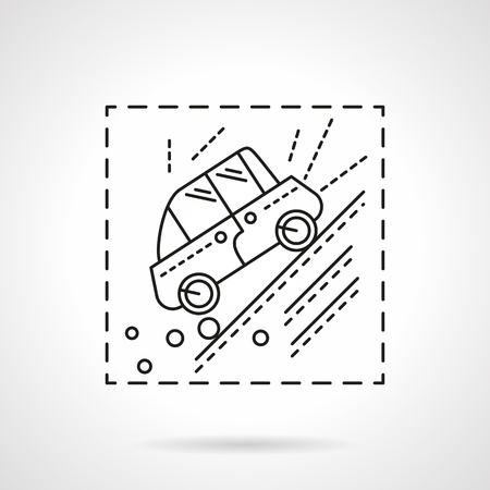 steep cliff sign: Automobile slopes down of the hill or mountain. Warning sign. Car insurance cases. Vector icon flat thin line style. Element for web design, business, mobile app.