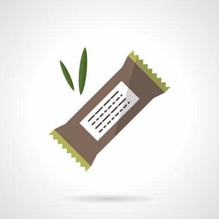 comiendo cereal: barra de proteína orgánica con algarroba, chocolate o cereales. Nutrición saludable. menú vegetariana. icono del vector del estilo del color plano. elemento de diseño web para el sitio, móviles y de negocios.