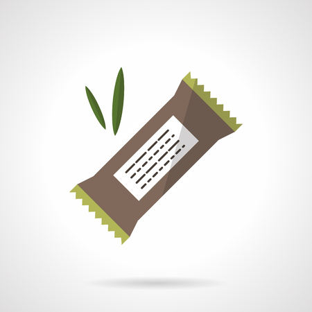 candy bar: Organic protein bar with carob, chocolate or cereals. Healthy nutrition. Vegan menu. Vector icon flat color style. Web design element for site, mobile and business.