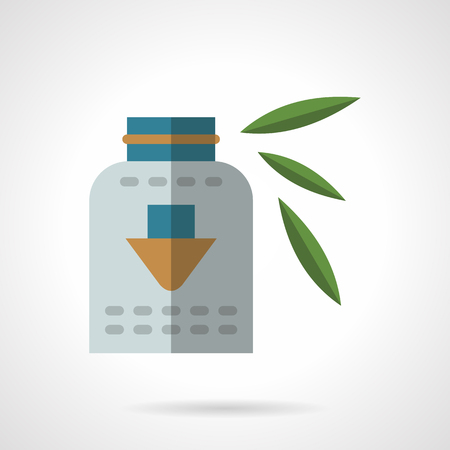 supplements: Can with organic dietary supplements. Healthy menu. Vector icon flat color style. Web design element for site, mobile and business.