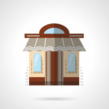 storefront: Showcase with two windows, brown door and awning. Barbershop facade. Showcases and storefront. Vector icon flat color style. Web design element for site, mobile and business.