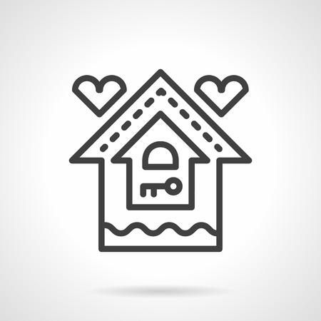 black family: Abstract house with key sign and two hearts. Sweet home. Housing and mortgage for young family. Vector icon simple black line style. Single design element for website, business. Illustration