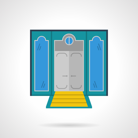 Facade of hotel with doors and yellow stairs. Symmetry two windows. Storefronts and showcases theme. Vector icon flat color style. Web design element for site, mobile and business.
