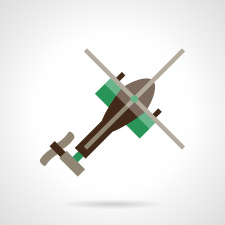 helicopter rescue: A top view of brown helicopter with green elements. Air vehicles. Military helicopter, rescue copter. Unmanned toy. Vector icon flat color style. Web design element for site, mobile and business.