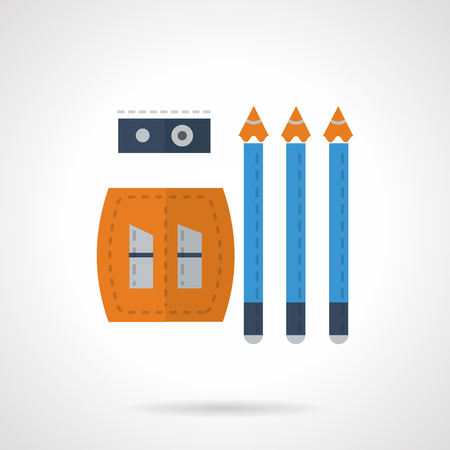 Three blue black-lead pencils and yellow sharpener front and top view. School supplies. Drawing tools. Vector icon flat color style. Web design element for site, mobile and business.