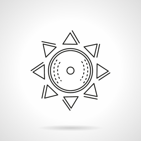 morning rituals: Abstract geometric sun symbol. Solar sign. Astronomy. Vector icon flat thin line style. Element for web design, business, mobile app.