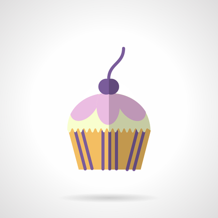 blueberry muffin: Blueberry cupcake or muffin topped with berry. Desserts menu. Sweets and pastry. Vector icon flat color style. Web design element for site, mobile and business. Illustration