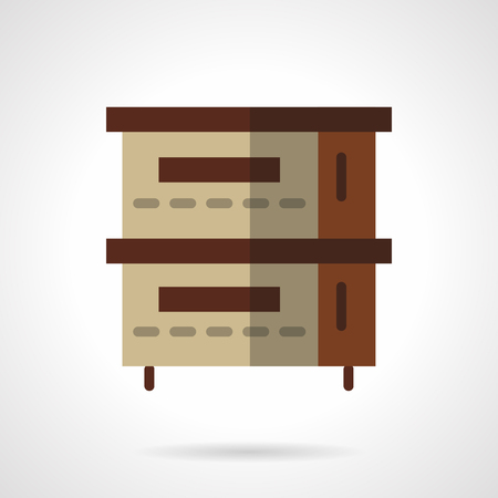 commercial equipment: Oven for restaurants, bakery, commercial kitchen. Brown stove. Professional equipment. Vector icon flat color style. Web design element for site, mobile and business.