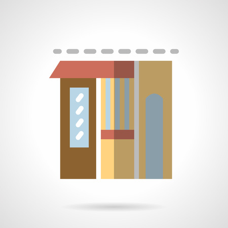 storefronts: Building facade of store. Flower shop. Storefronts and showcases. Commercial architecture. Vector icon flat color style. Web design element for site, mobile and business.