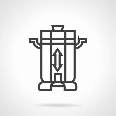 black appliances: Contemporary coffee beans mill or grinder. Coffee making equipment. Household appliances. Vector icon simple black line style. Single design element for website, business. Illustration