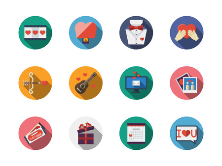 confession: Valentines Day and love buttons. Engagement, melody gift, love confession and dating. Set of round colorful flat vector icons with long shadows. Web design elements for business, site, mobile app.