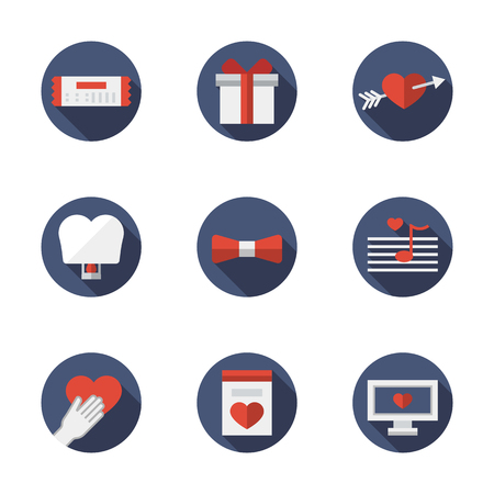 Dating and flirting elements. Love relationships. Proposal and love confession. Valentines Day theme. Set of round blue flat color vector icons. Web design elements for business, site, mobile app.