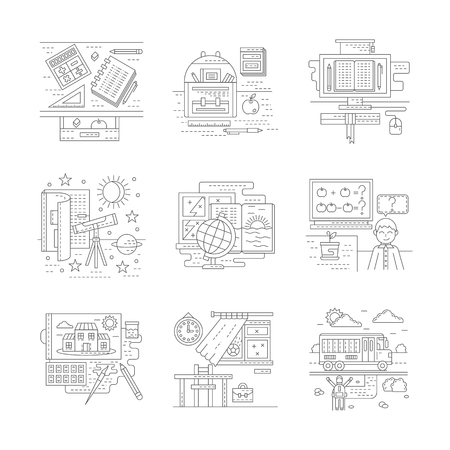 school life: School life elements. School subjects. Back to school theme. Stylish flat line style vector icons. Web design elements for business, site, mobile app. Illustration