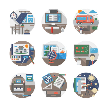moments: Everyday school object. Studying moments. Learning disciplines and education. Colorful round flat vector icons collection. Web design elements for business, site, mobile app.
