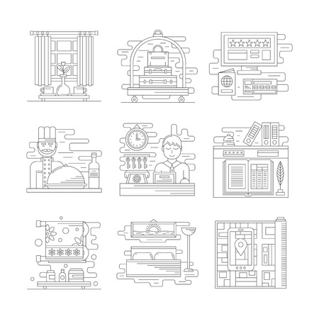 receptions: Hotel services symbols. Receptions, restaurant, booking. Travel and tourism. Stylish flat line style vector icons. Web design elements for business, site, mobile app. Illustration