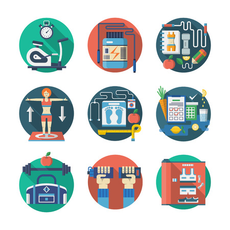 training programs: Fitness tools, sport exercise, training programs. Healthy lifestyle. Colorful round flat vector icons collection. Web design elements for business, site, mobile app. Illustration