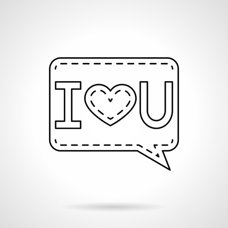 i love u: Online dating, distance relationship, I Love U message with heart sign. Valentines Day theme. Flat line style single vector icon. Element for web design, business, mobile app. Illustration