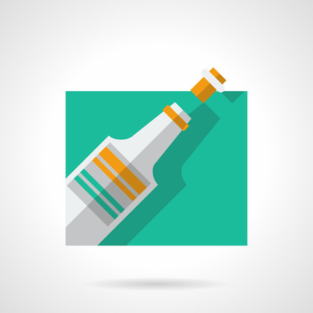 uncorked: Champagne or wine bottle. Celebratory drinks. Party and events. Flat color style single vector icon. Web design element for site, mobile and business.