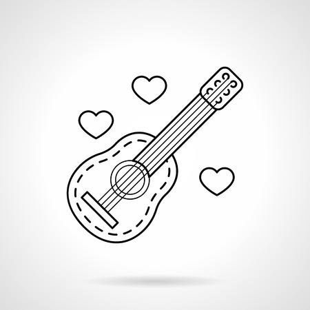 serenade: Classic acoustic guitar and hearts. Love melody symbol. Valentines day theme. Flat line style single vector icon. Element for web design, business, mobile app.