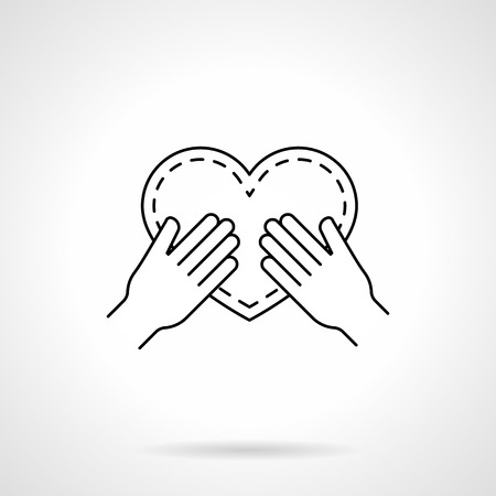 web engagement: Hands holding a heart. Symbol of love proposal, engagement. Valentines Day. Flat line style single vector icon. Element for web design, business, mobile app.