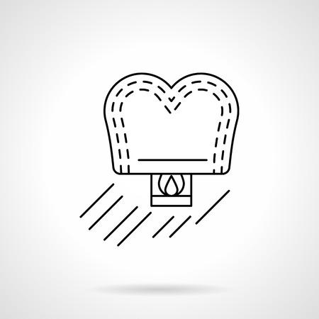 Romantic sky lantern heart shape. Lovely greeting, couple anniversary, wedding. Flat line style single vector icon. Element for web design, business, mobile app.
