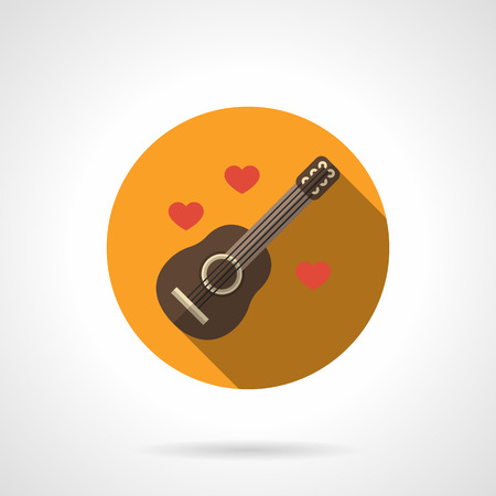 serenade: Guitar lyrics red hearts. Creativity love songs and serenade. Romantic music gift. Yellow round vector icon, long shadow. Element for web design, business, mobile app.
