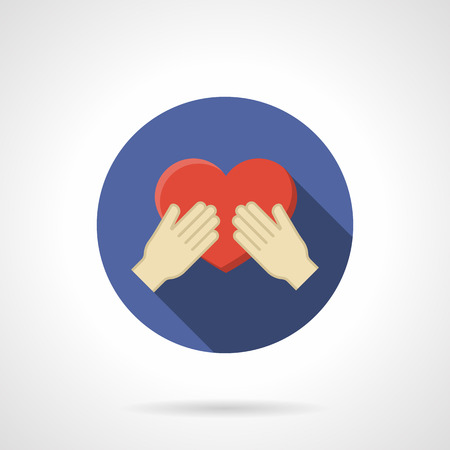 propose: Red heart in a hands. Concept of expressing love. Giving love, propose for marriage. Purple round vector icon, long shadow. Element for web design, business, mobile app. Illustration