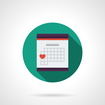 page long: Abstract table calendar with month page. Romantic date mark with red heart sign. Green round vector icon, long shadow. Element for web design, business, mobile app. Illustration