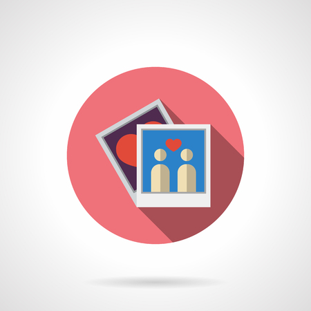 photo story: Lovers couple or family photo. Love story. Relationship and friendship moments. Pink round vector icon, long shadow. Element for web design, business, mobile app.